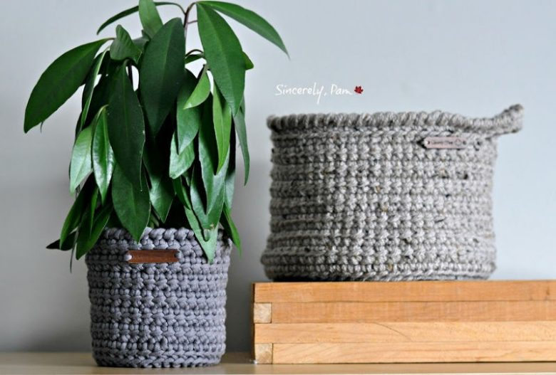 Alex Basket and Plant Pot Cover crochet pattern