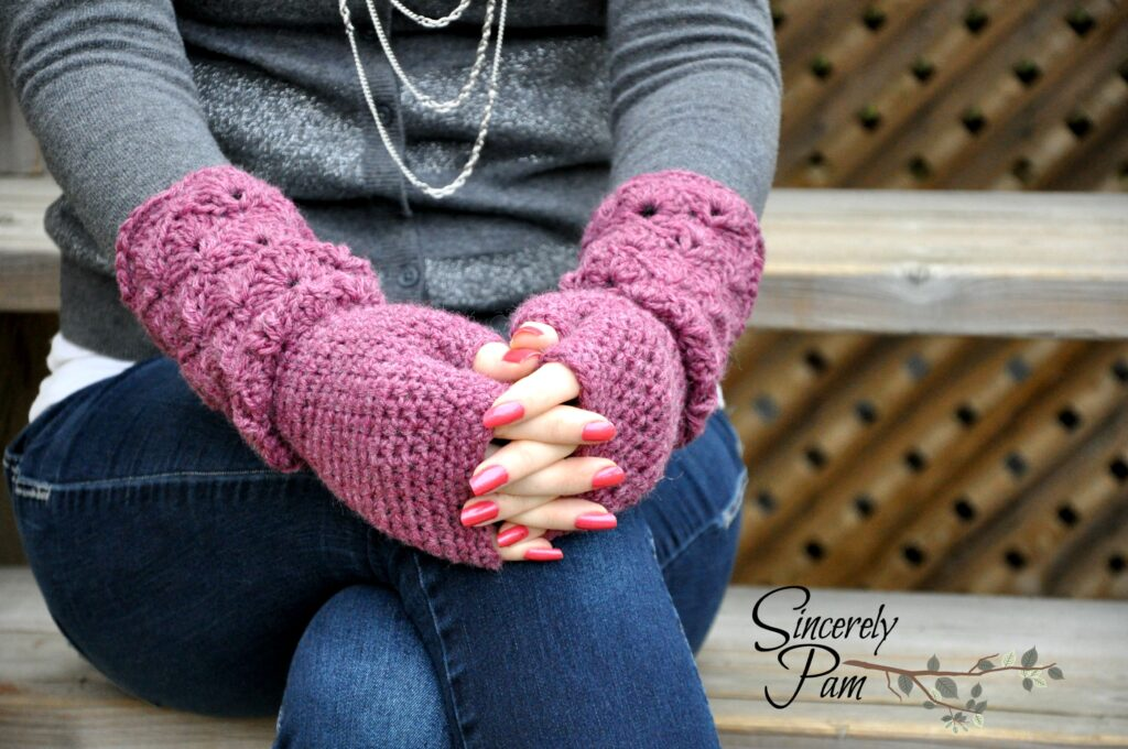 Shelby Gloves free crochet pattern by Sincerely, Pam