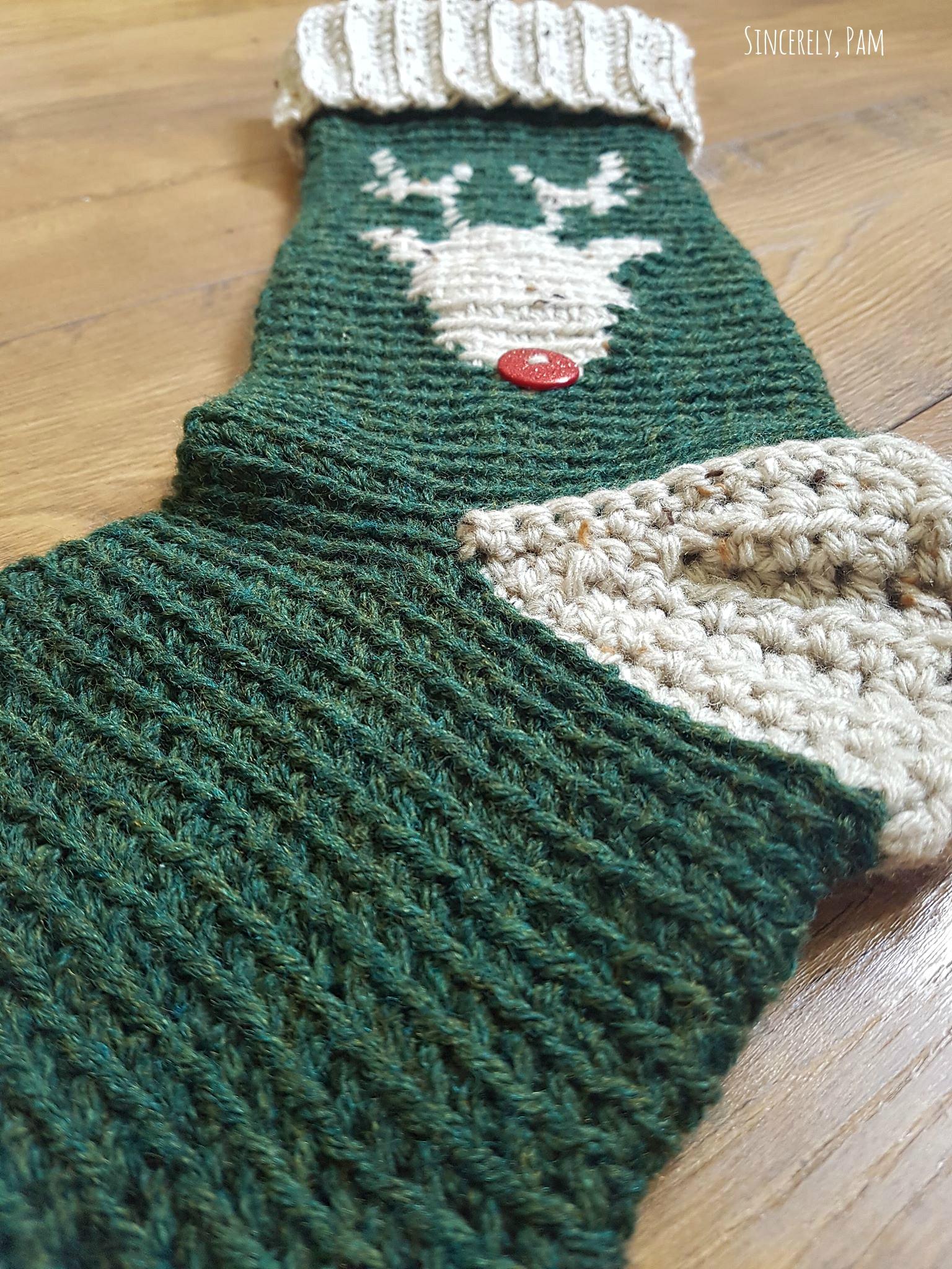 Reindeer Christmas Stocking crochet pattern