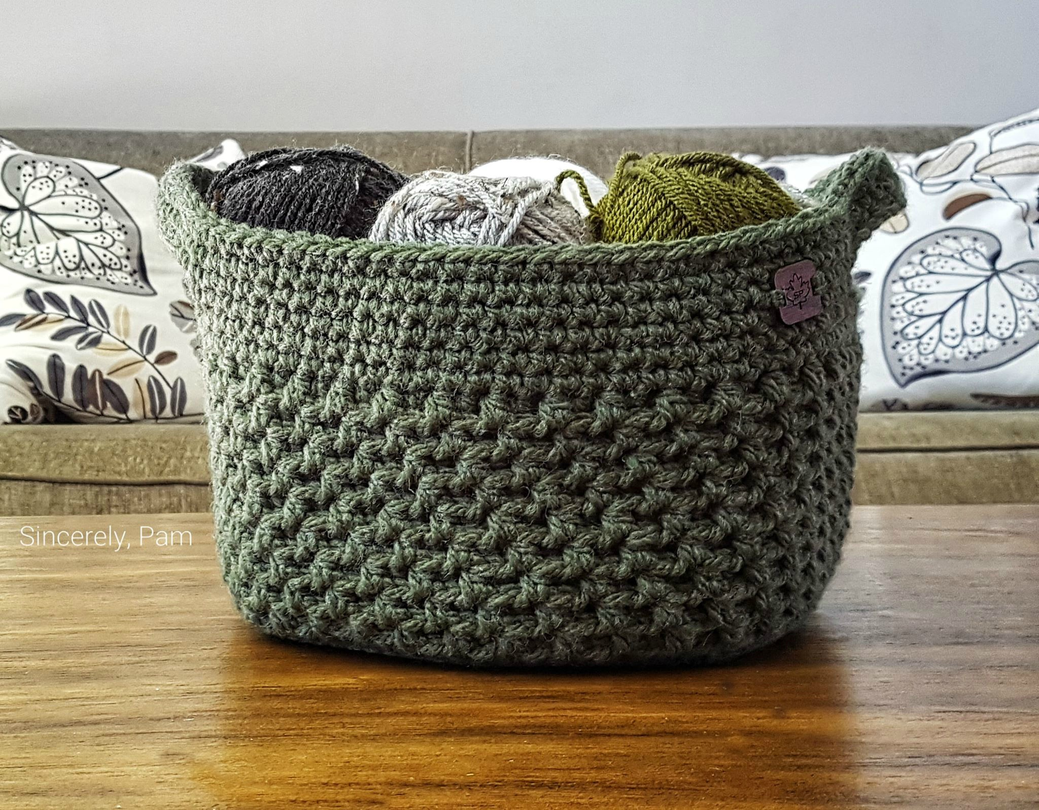 Lansdowne Basket crochet pattern, free on the Sincerely, Pam blog.
