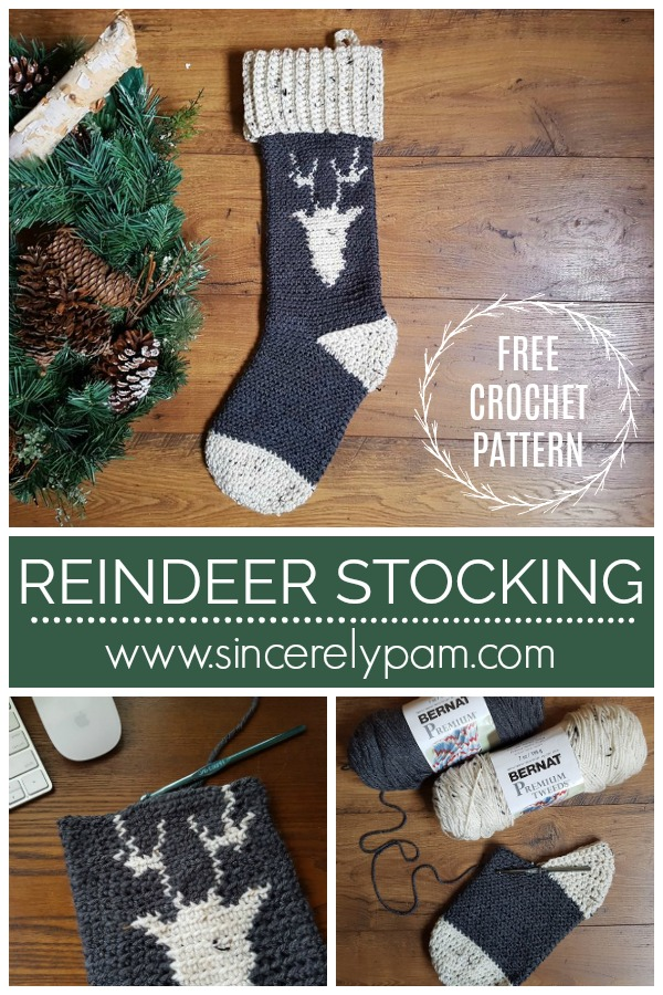 Reindeer Stocking crochet pattern by Sincerely, Pam