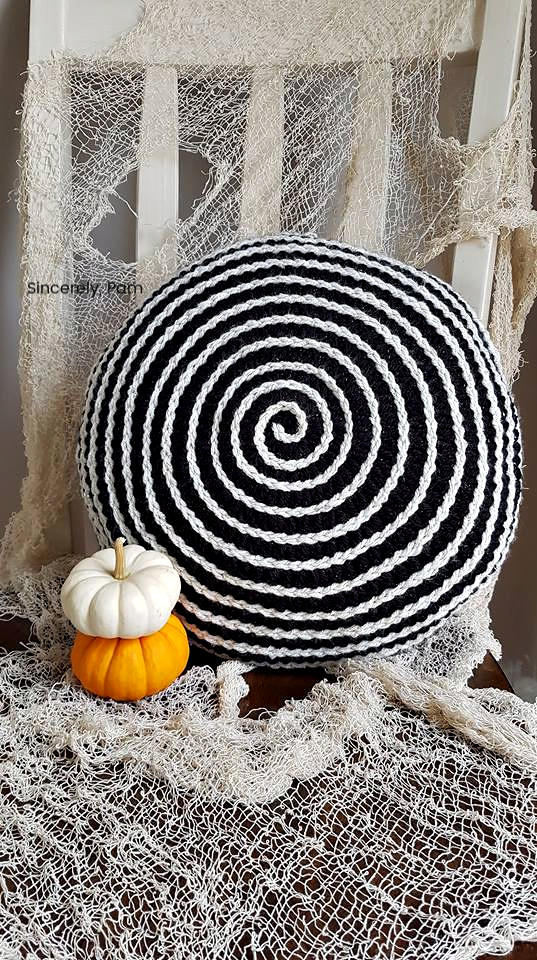 Hypnotic Pillow crochet pattern by Sincerely, Pam. Great Halloween decor!