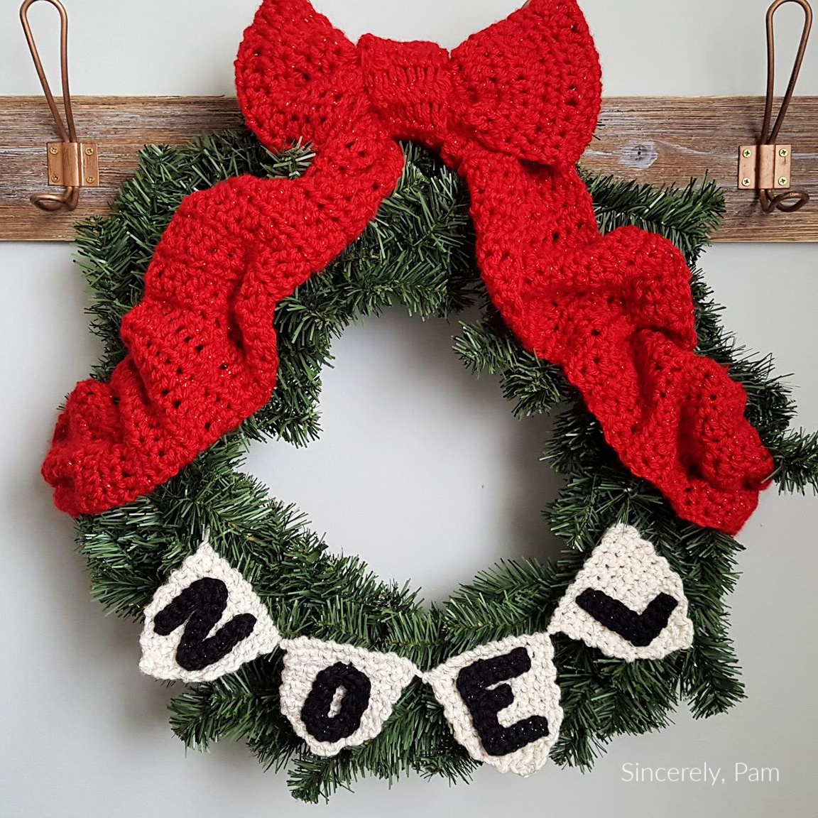 NOEL Wreath bunting crochet pattern by Sincerely, Pam