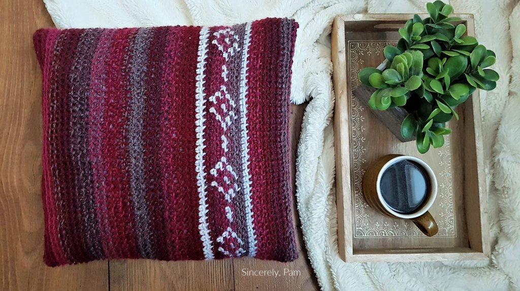 Mesa Pillow Tapestry crochet pattern by Sincerely, Pam