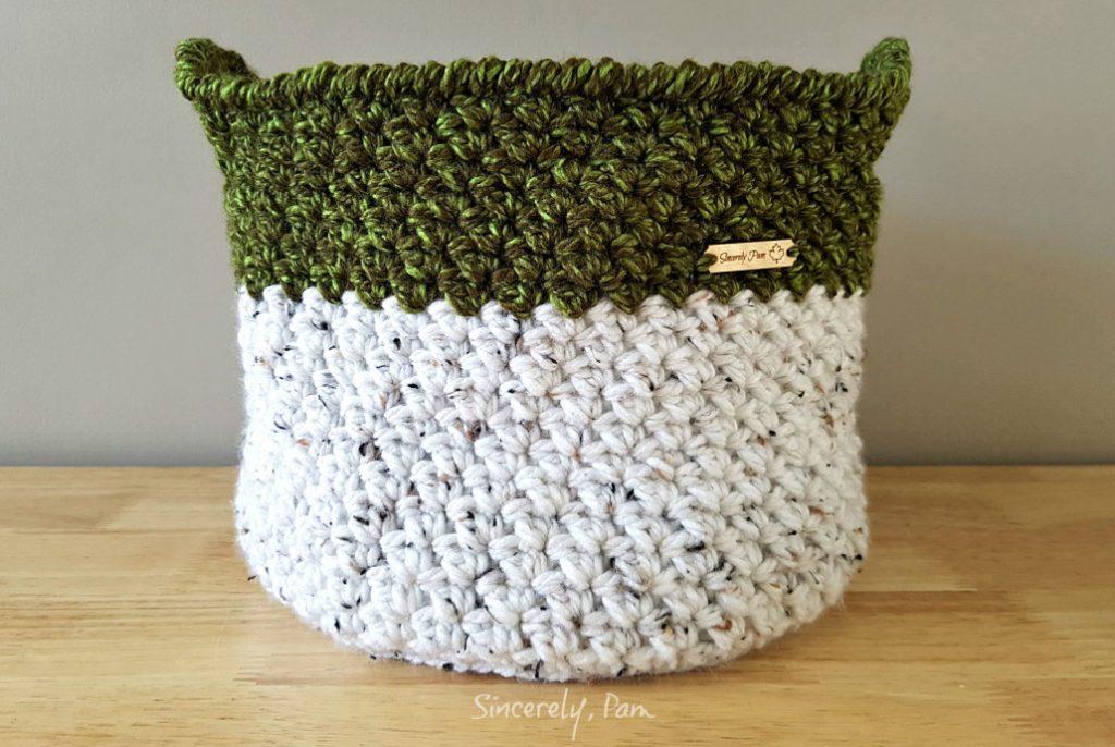 Julie basket crochet pattern by Sincerely, Pam.