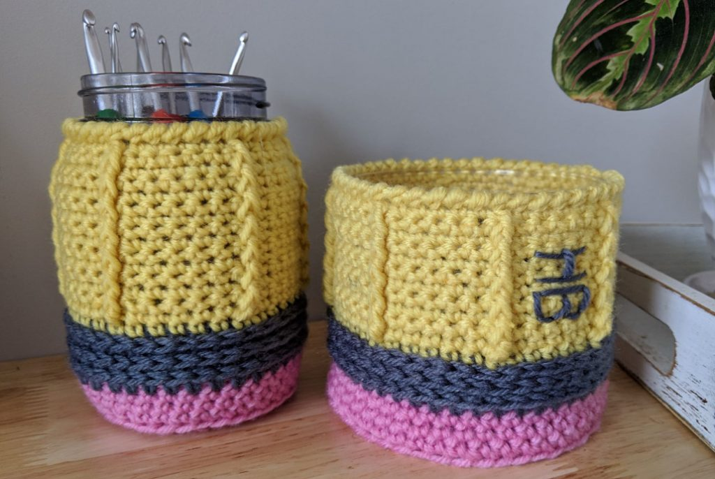 Pencil Mason Jar and 3 wick Cozy crochet pattern by Sincerely, Pam.