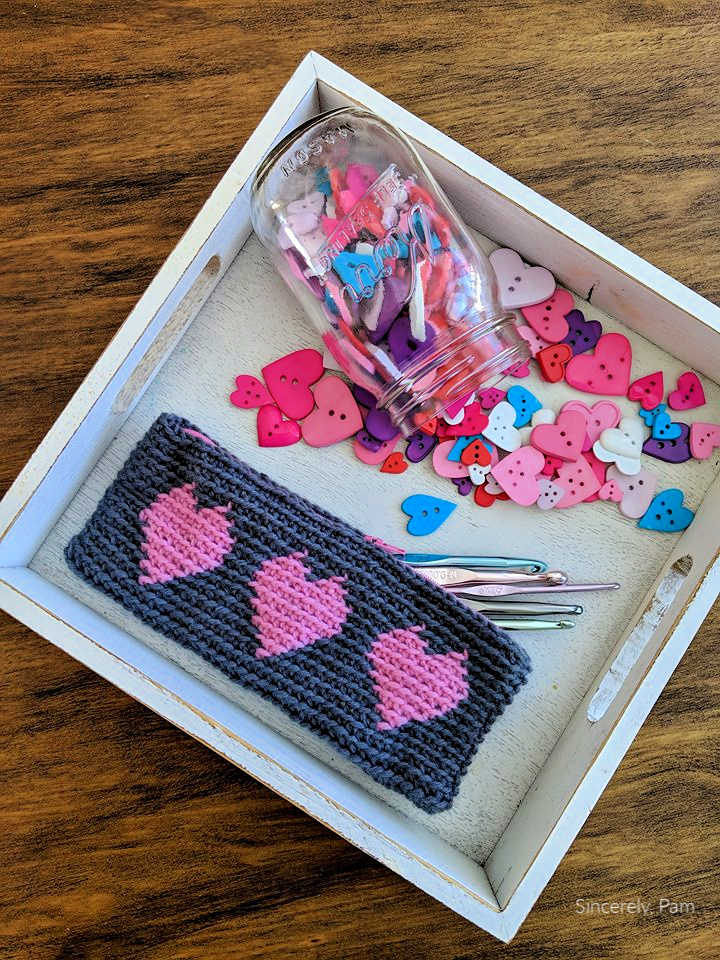 Tapestry Heart Pencil Case crochet pattern by Sincerely, Pam