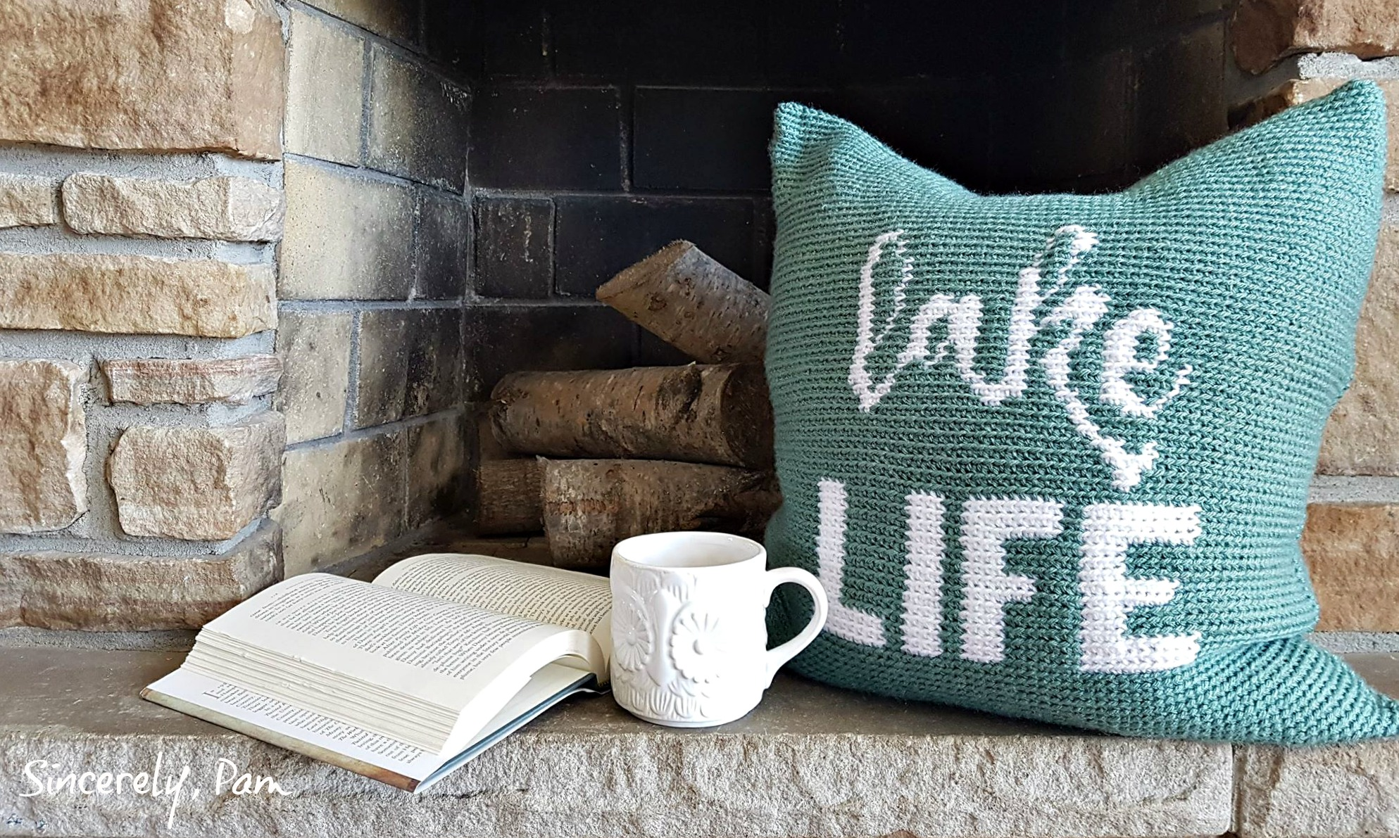 Lake Life Crochet Pillow by Sincerely, Pam