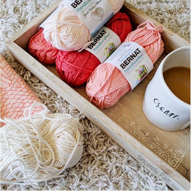 Picnic Clutch free crochet pattern by Sincerely, Pam using Bernat Handicrafter yarn.