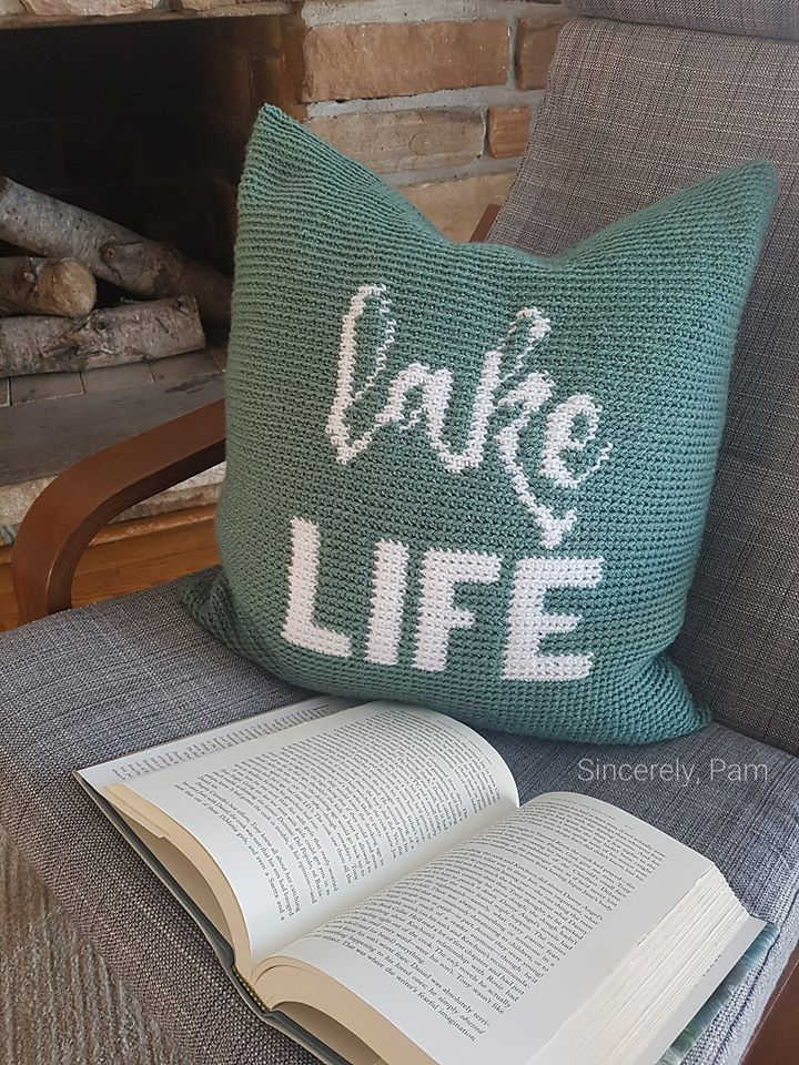lake life pillow crochet pattern by sincerely pam