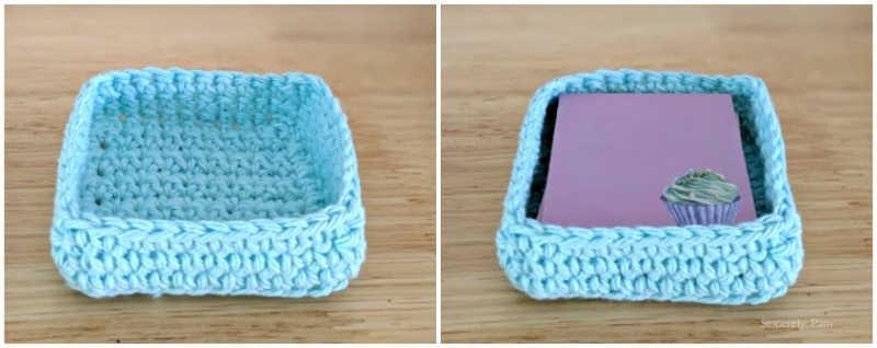 post it note basket easy for beginner crochet