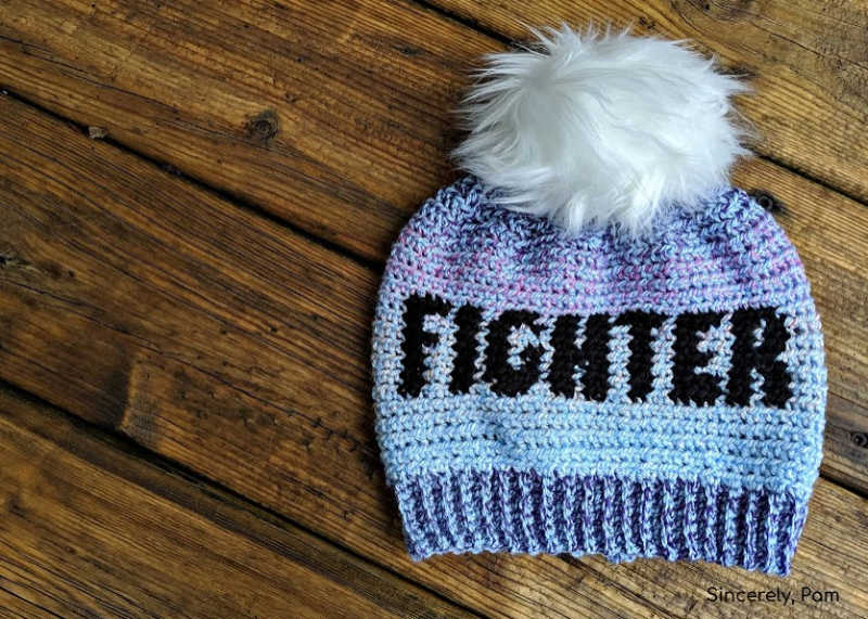 fighter beanie tapestry crochet pattern by sincerely pam cancer challenge 2019