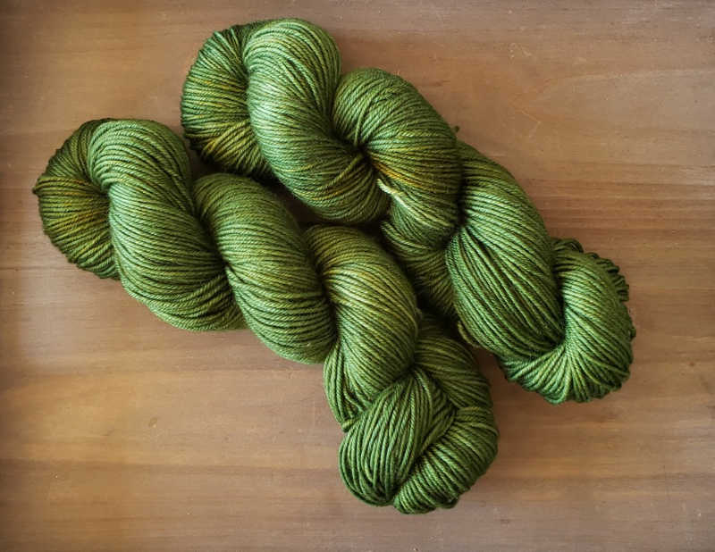 Leither Co hand dyed yarn in Avocado