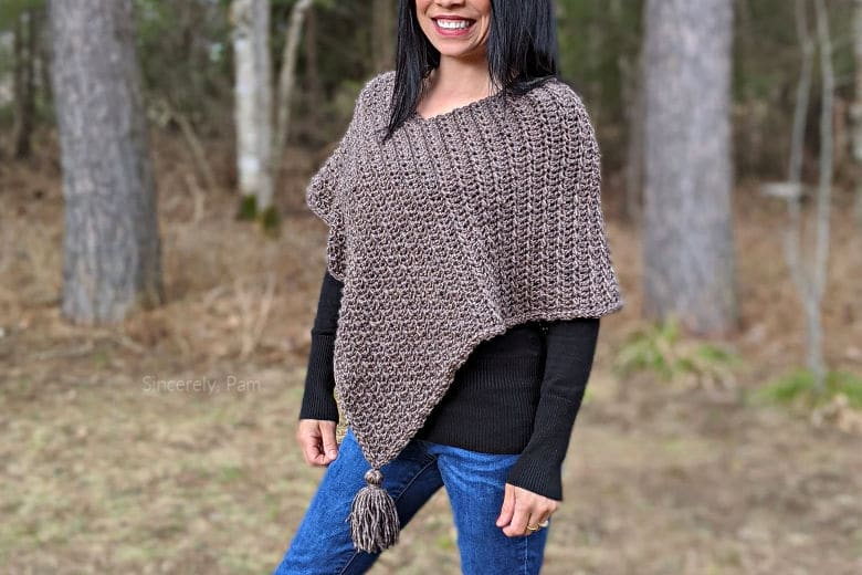 ragged falls poncho crochet pattern by sincerely pam