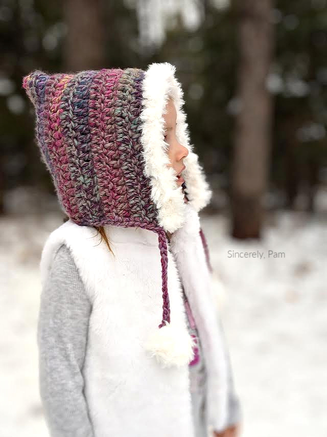 Go For Faux Fur Hood crochet pattern by Sincerely, Pam Lion Brand Yarn thick and quick