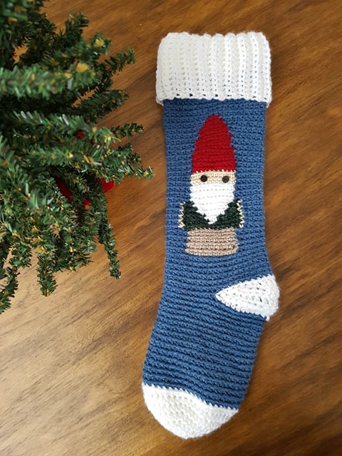 gnome Stocking crochet pattern by Sincerely Pam