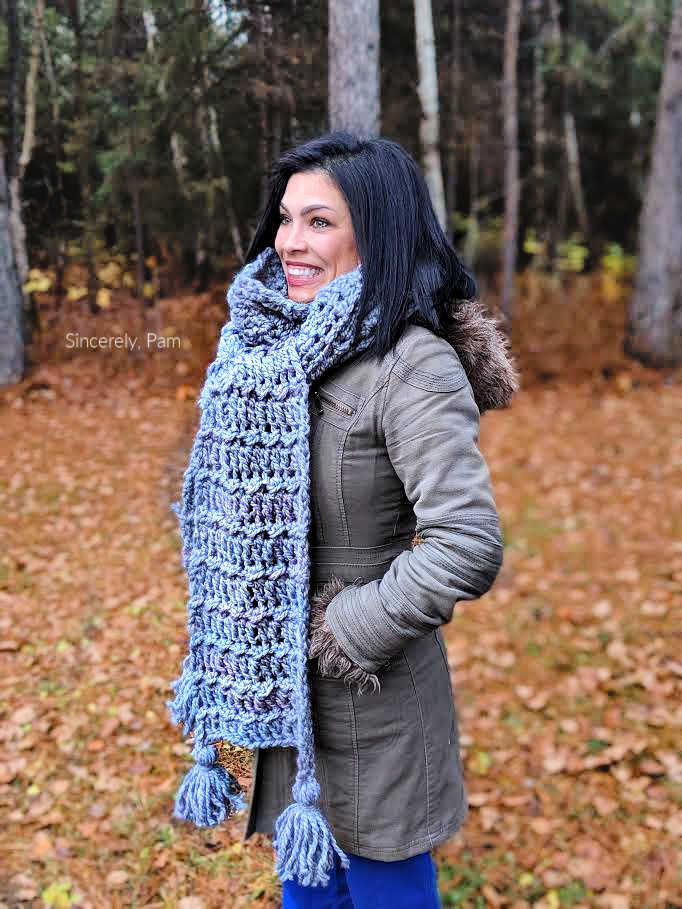 ragged falls scarf crochet pattern by sincerely pam