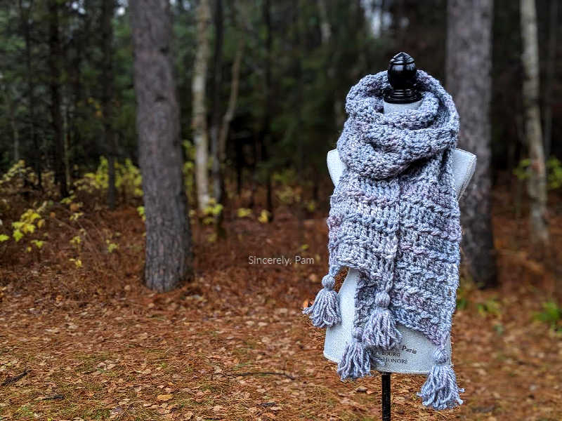 Ragged Falls Scarf free crochet pattern by Sincerely, Pam