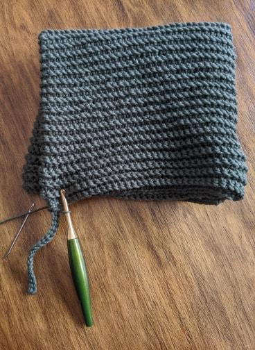 Every After Hood crochet pattern progress pics.