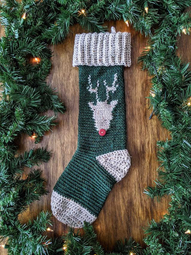 Reindeer Stocking tapestry crochet pattern by sincerely pam