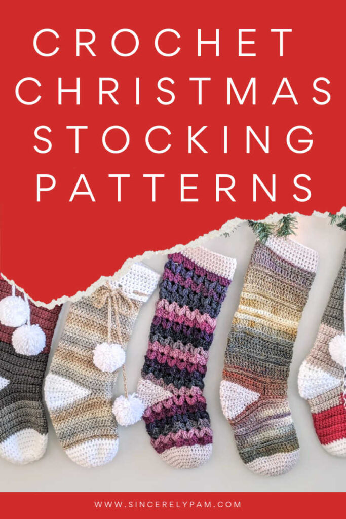Crochet Christmas Stocking pattern roundup by Sincerely Pam