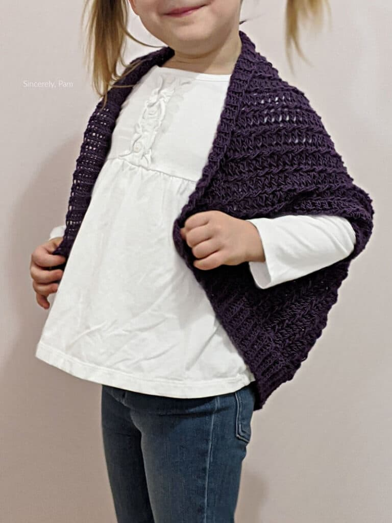 Ragged Falls Cocoon Shrug crochet pattern by Sincerely, Pam
