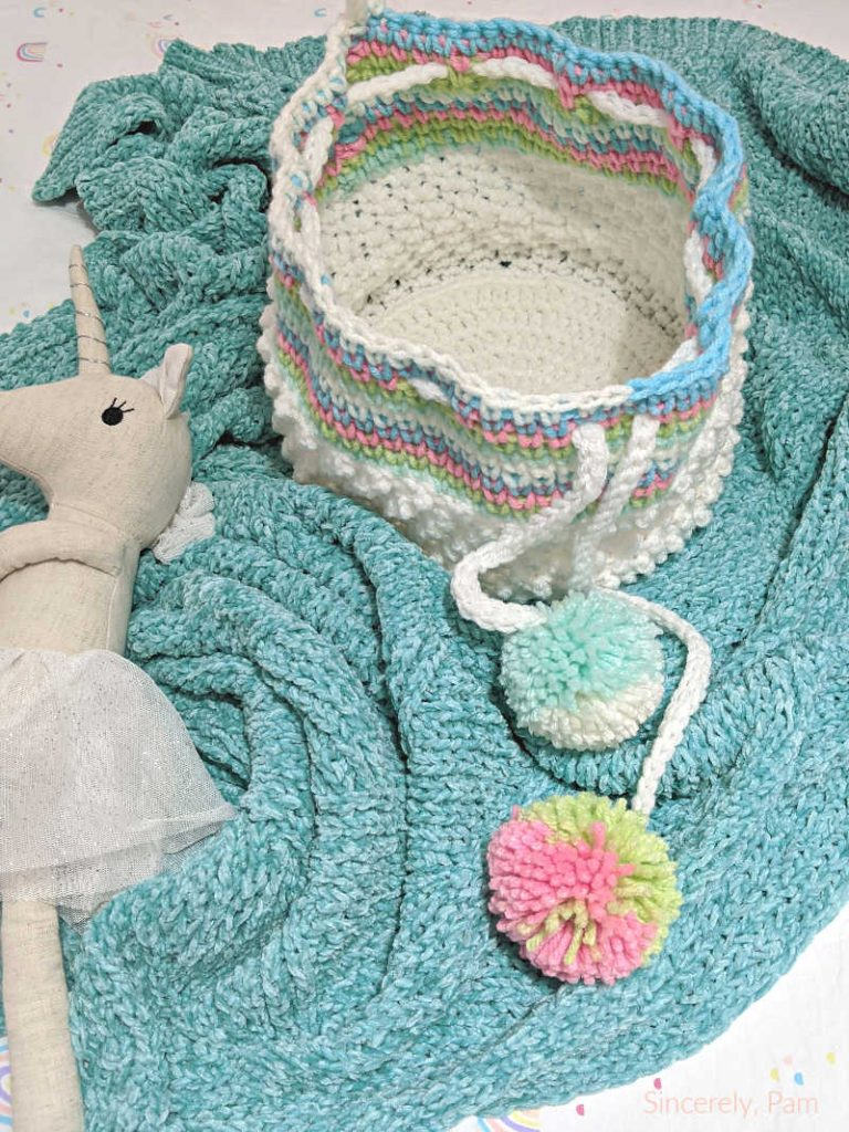 drawstring basket crochet pattern by sincerely pam