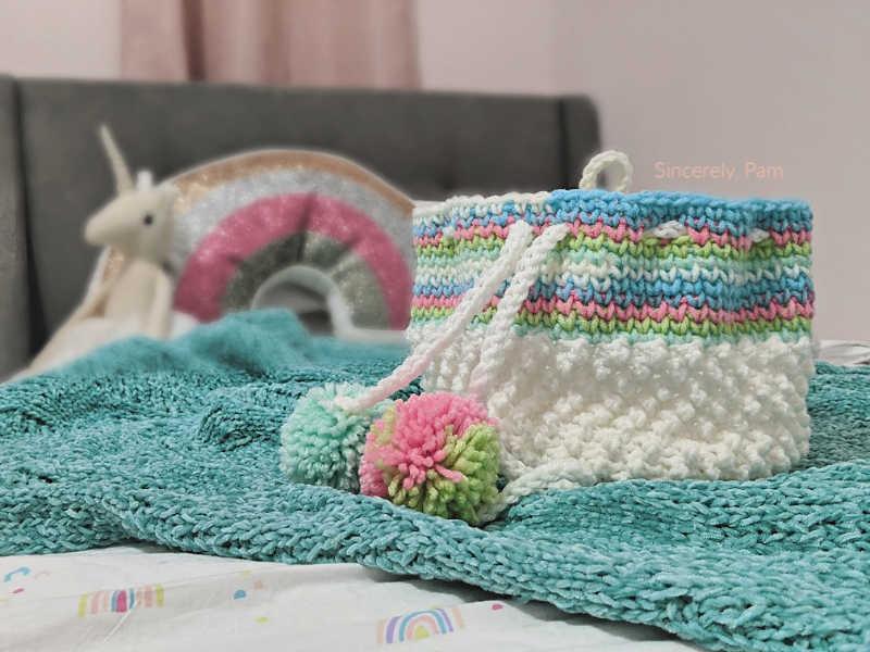 crochet drawstring basket