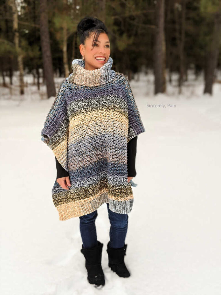 lucky penny poncho crochet pattern in ladies sizes