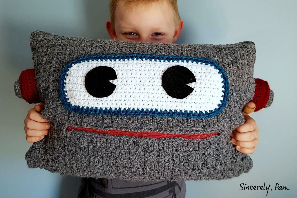 Free Robot Pillow Crochet Pattern by Sincerely Pam