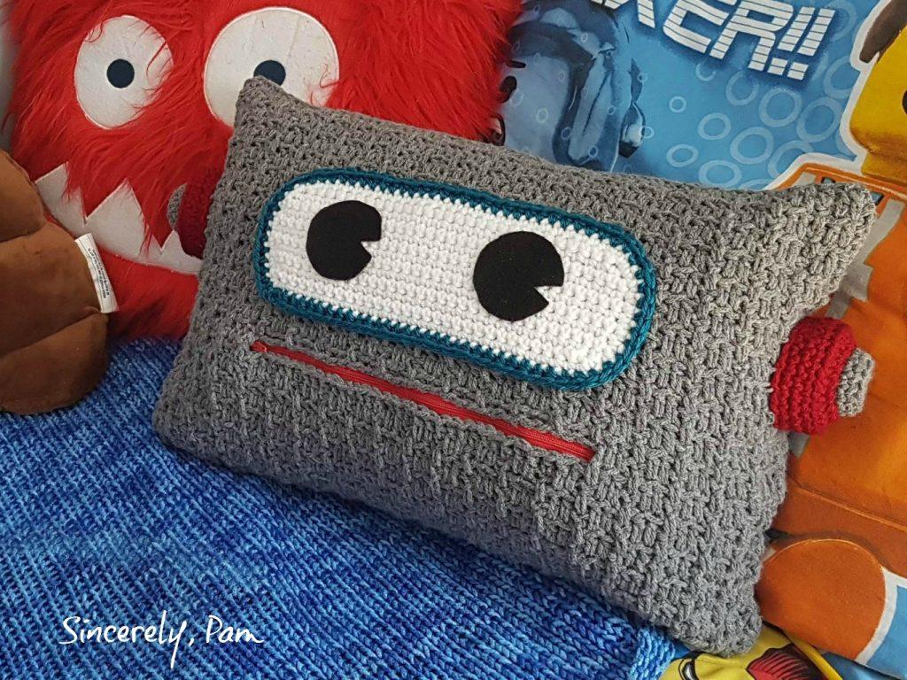 robot pillow crochet pattern