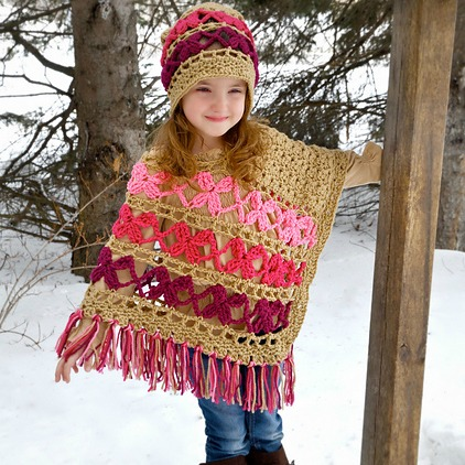 child size butterfly breeze poncho crochet pattern