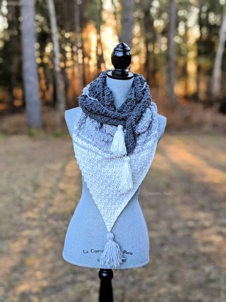 elmview shawl crochet pattern by sincerely pam