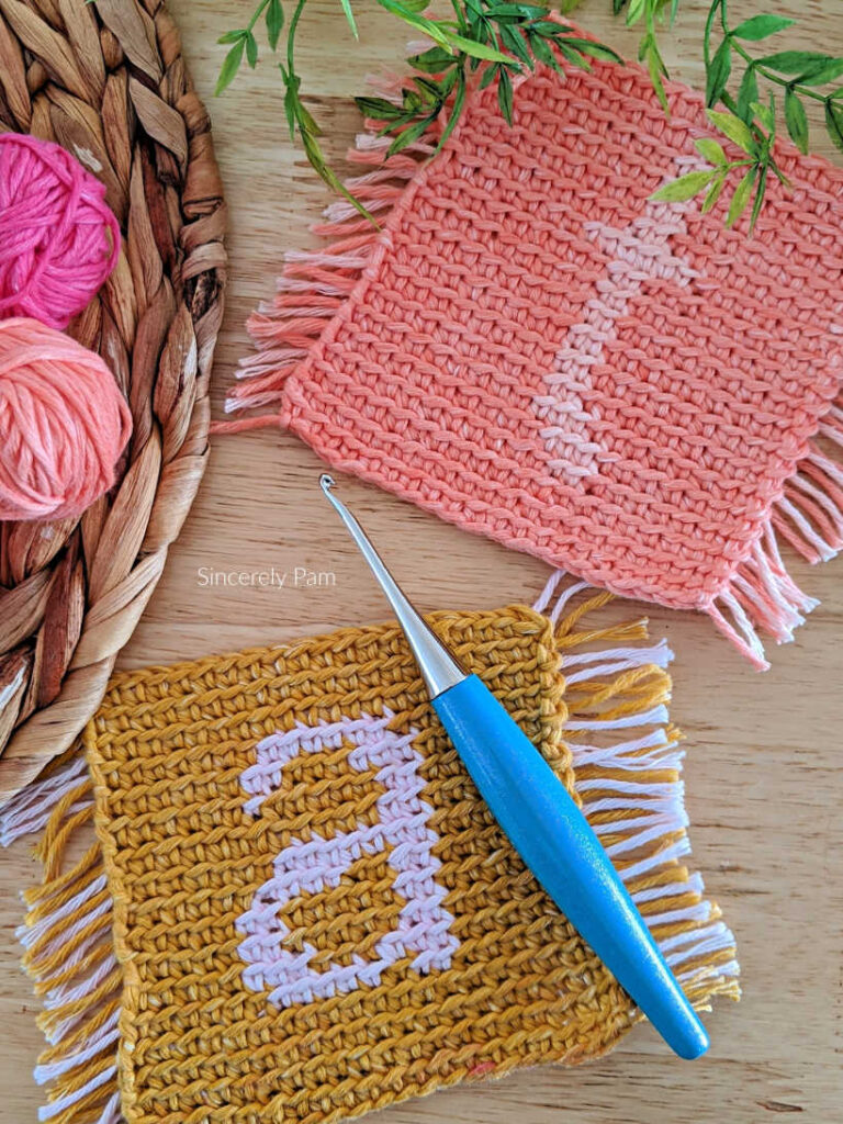 monogram coaster crochet pattern by sincerely pam.
