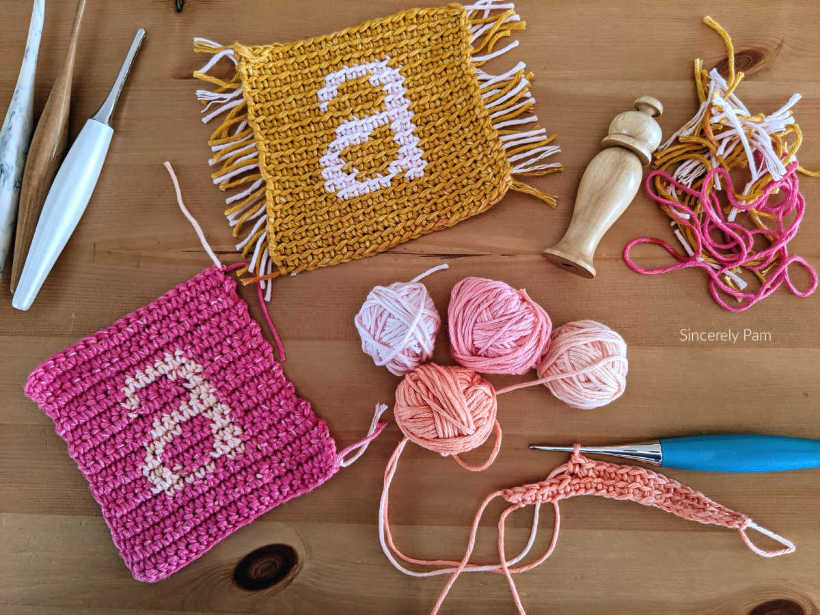Monogram Coasters crochet pattern by Sincerely Pam