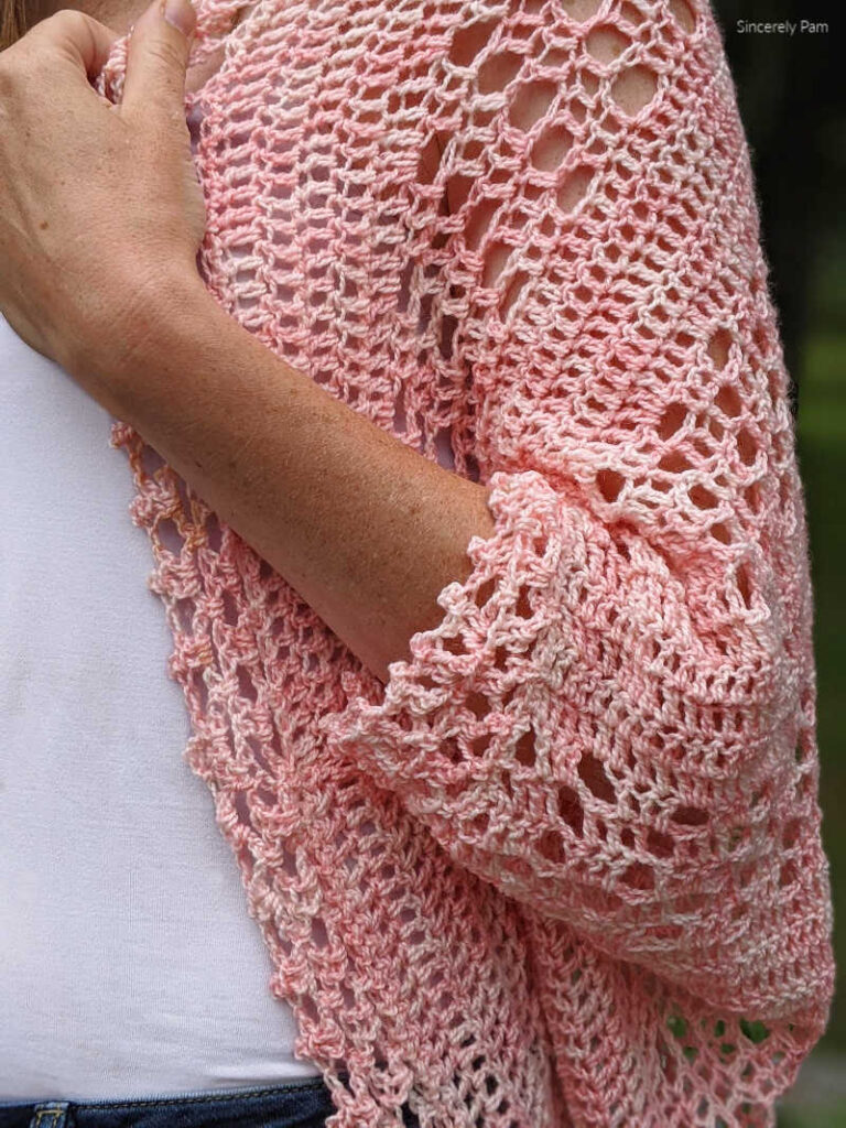 close up sleeve detail of the daphne cocoon cardigan crochet pattern