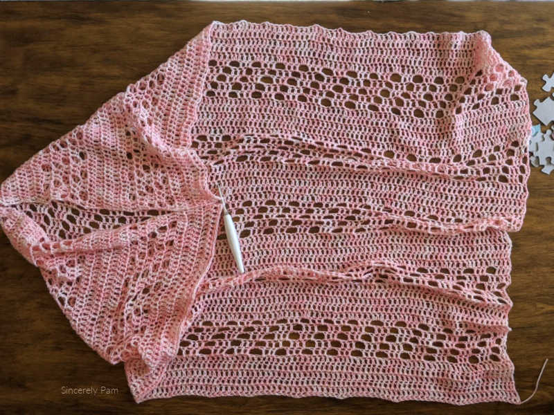 daphne cocoon cardigan crochet pattern laying flat before seaming.