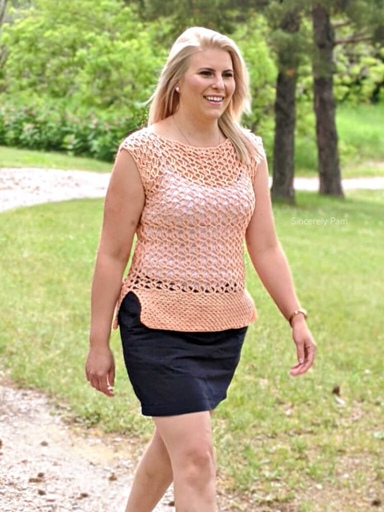 Marielle Lace Tee adult crochet pattern by sincerely pam