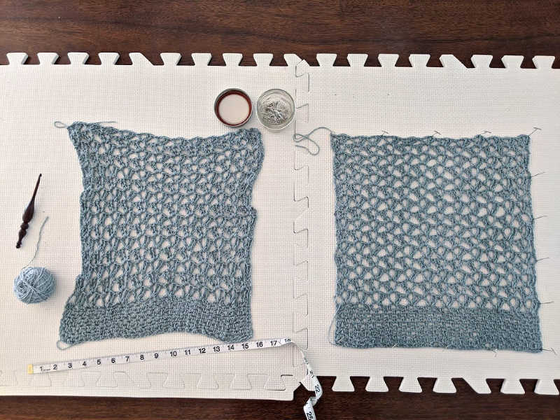 marielle lace tee child size on blocking mats and being pinned to the correct dimensions.