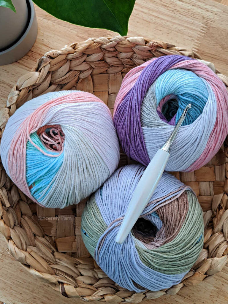 three balls of loops and threads cotton colors yarn