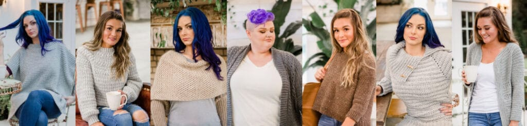 the seven designs featured in the fall 2020 digital issue of crochet foundry magazine.