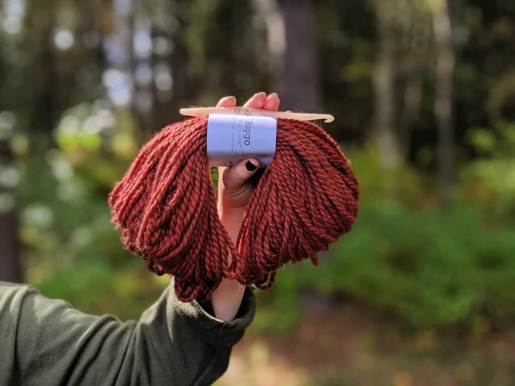 a hand holds a hank of Biggo yarn from WeCrochet in front of a wooded area.