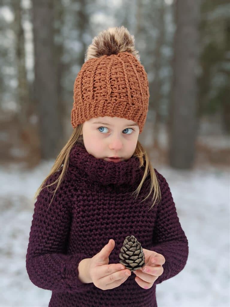 Sunday Sweater crochet pattern in child size 6.