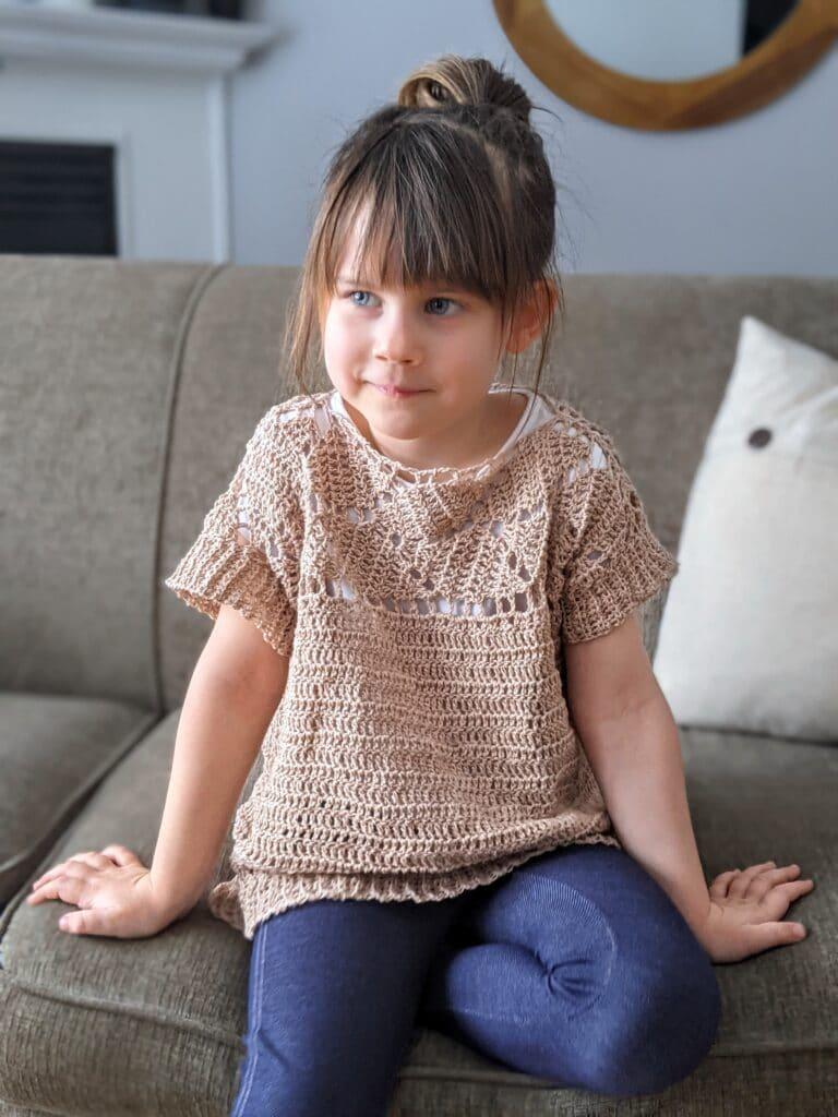 riviera tee crochet pattern in child sizes 2-16