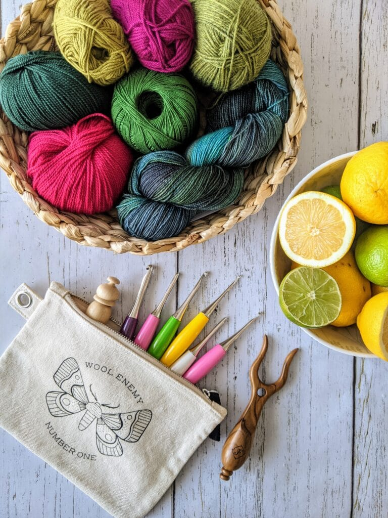 yarn and crochet hooks used in the spring 2021 issue of crochet foundry magazine